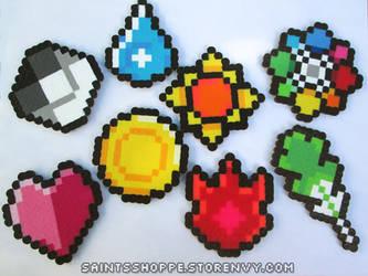 Pokemon Kanto Badges - Bead Sprites/Perlers by Saint-chan