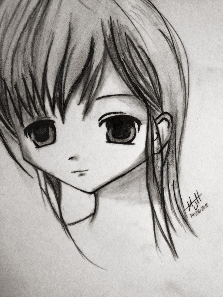 Sad anime face by mjh92