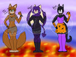 Halloween Female Mobian adopt set (2/3 OPEN) by DalaneyBugg