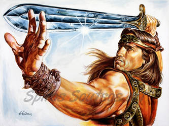 Conan the barbarian painting movie poster arnold s