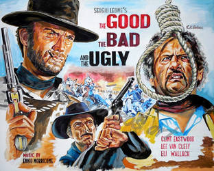 The Good The Bad The Ugly Clint Eastwood paintin
