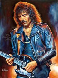 Tony Iommi painting portrait Black Sabbath poster  by SpirosSoutsos