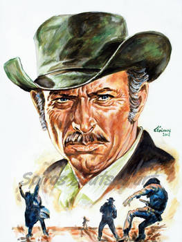 Lee Van Cleef Painting Portrait Movie Poster