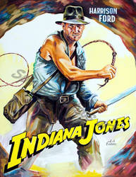 Indiana jones painting movie poster harrison ford by SpirosSoutsos