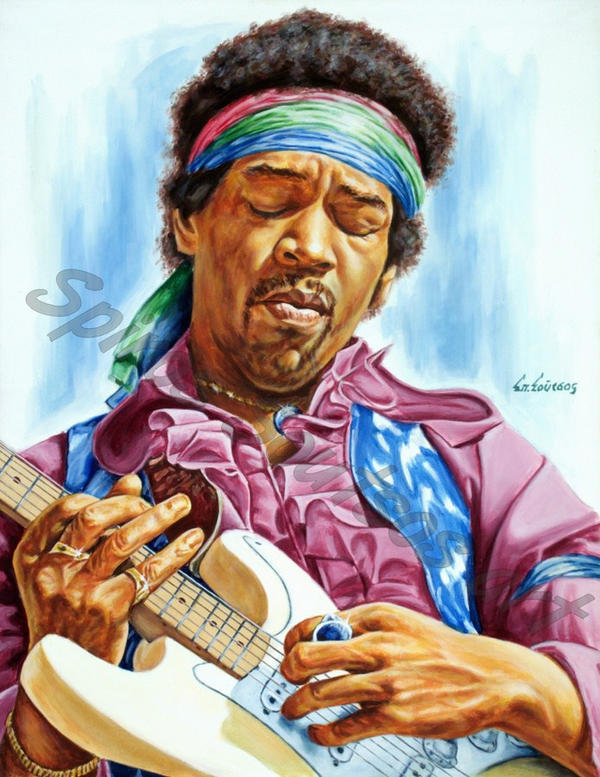 Jimi Hendrix painting portrait by SpirosSoutsos