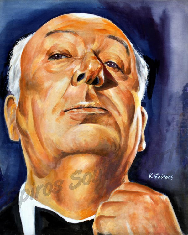 Alfred hitchcockportrait painting by SpirosSoutsos