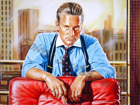 Michael Douglas Painting Portrait Wall Street