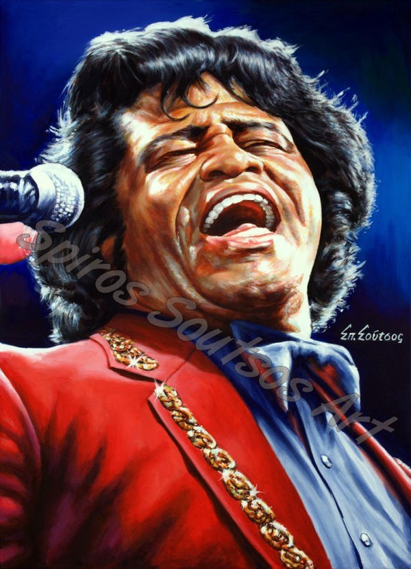 James Brown Painting Portrait Canvas Poster by SpirosSoutsos