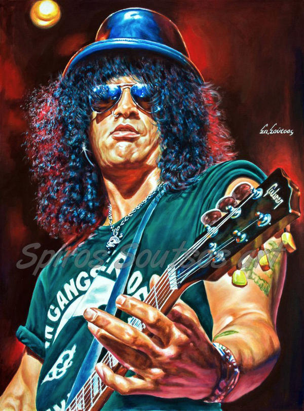 Slash painting portrait Guns Roses painting by SpirosSoutsos