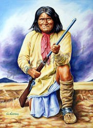 Geronimo painting portrait canvas poster apache in