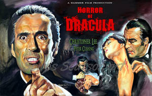 Christopher lee horror of dracula painting poster