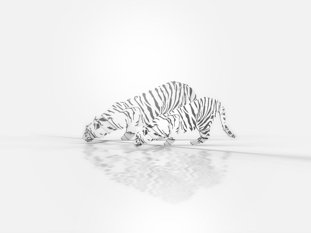 Origami White Tiger By Giacko