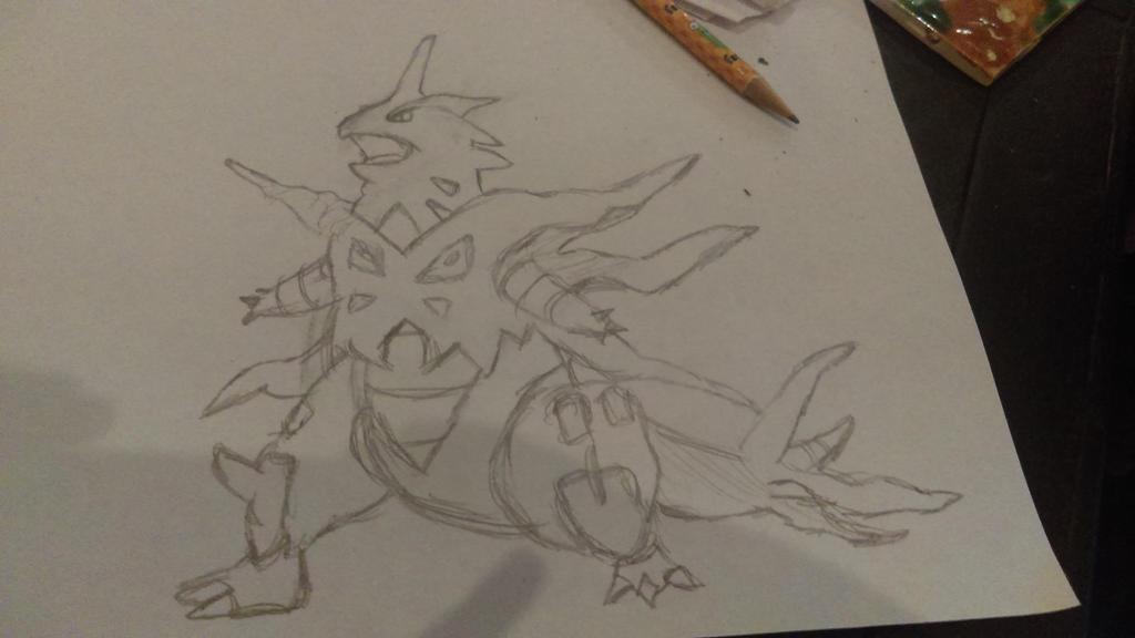 Pokemon Mega Tyranitar Sketch by MerlaihMermaid