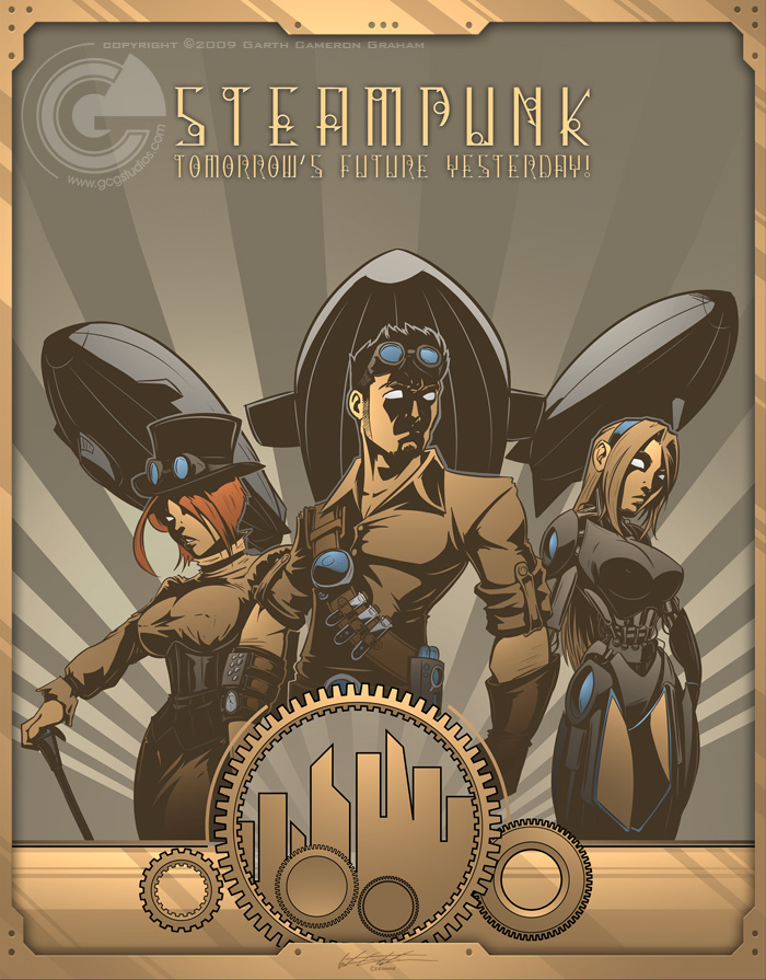 love this Art Deco steampunk poster by artist Garth FT. It's got ...: www.steamingenious.com/2013/12/friday-finds-steampunk-poster-art.html
