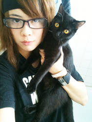 new ID : Me and my cat blossom by Jesuke