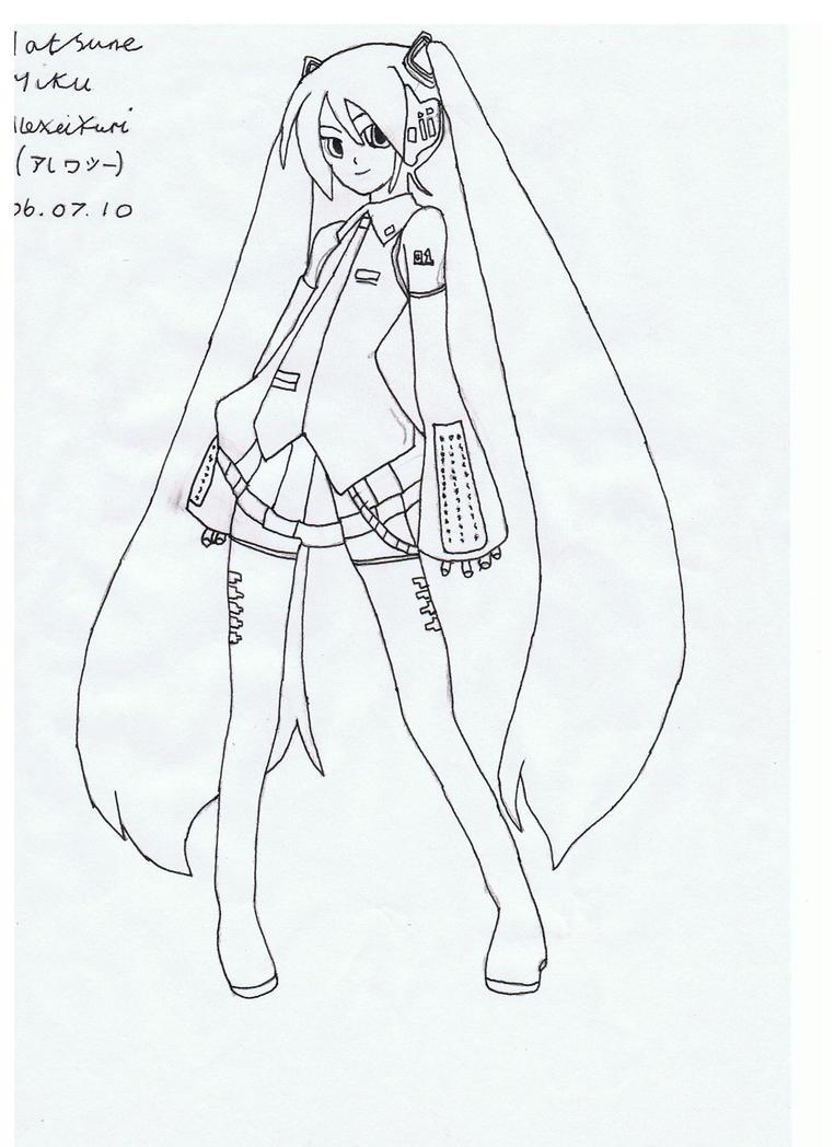 Hatsune Miku Drawing by alexeiyuri on DeviantArt Hatsune Miku Drawing Markcrilley