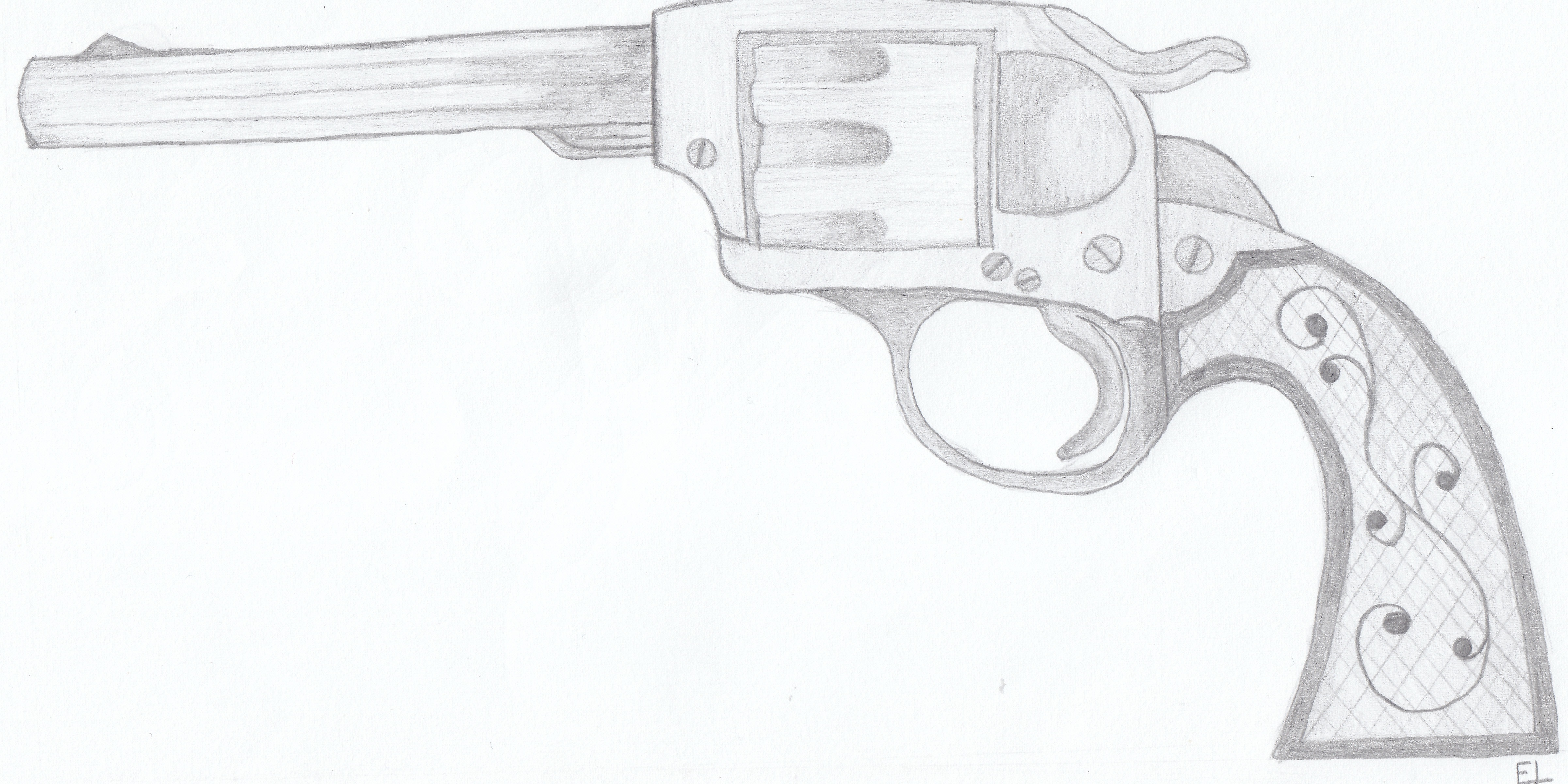 Western Pistols Drawing Western Gun Drawing600 x 344