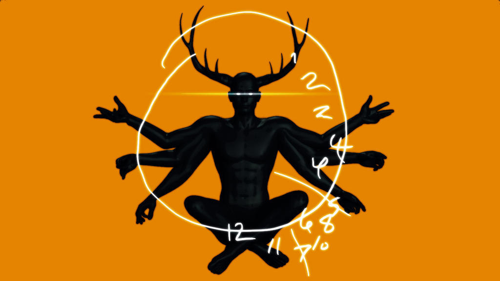 Six Armed Stag Clock By DarksealStudios