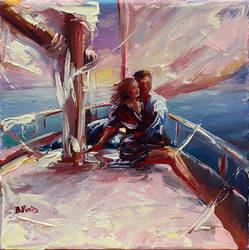 A couple on sailboat by BozhenaFuchs