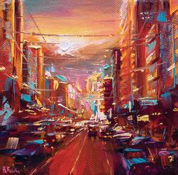 Cityscape painting miniature