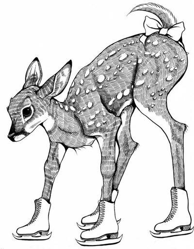 Ice Skating Deer by DawnUnicorn