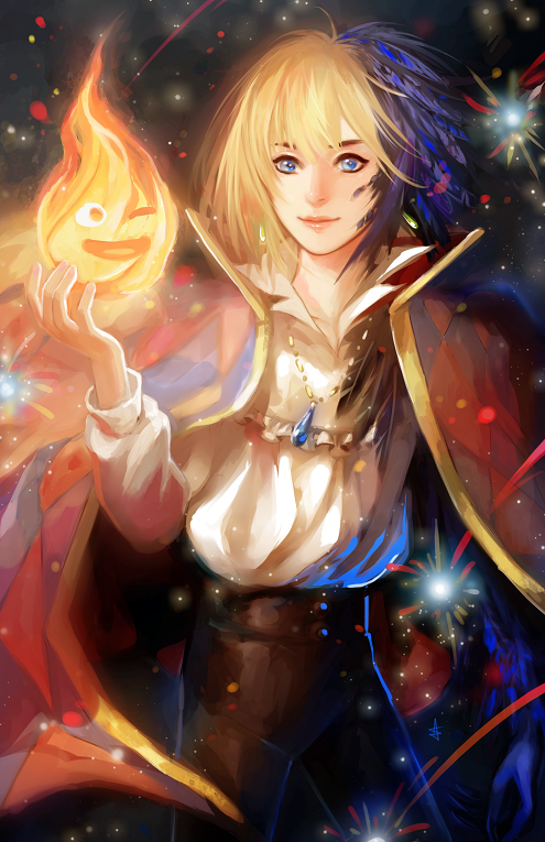 Calcifer and Howl by Ariuemi
