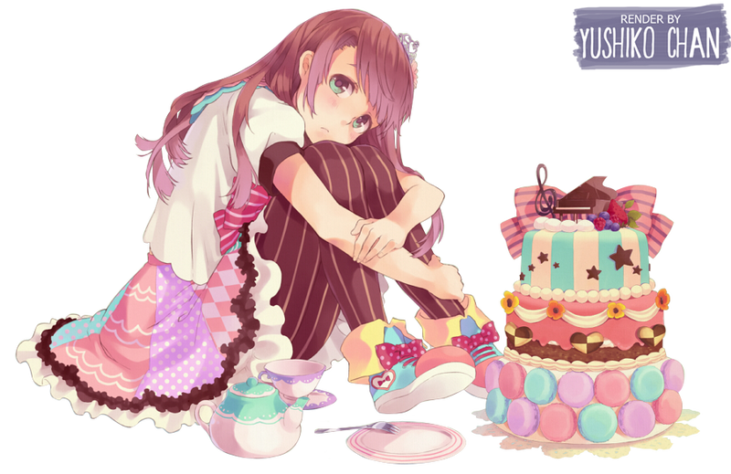 Anime Scene With Chocolate And Strawberry Cake