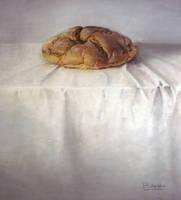 Pan moreno sobre tela blanca