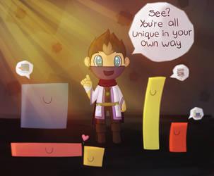 Rythian - Thomas Was Alone by CrystalBluePuppy