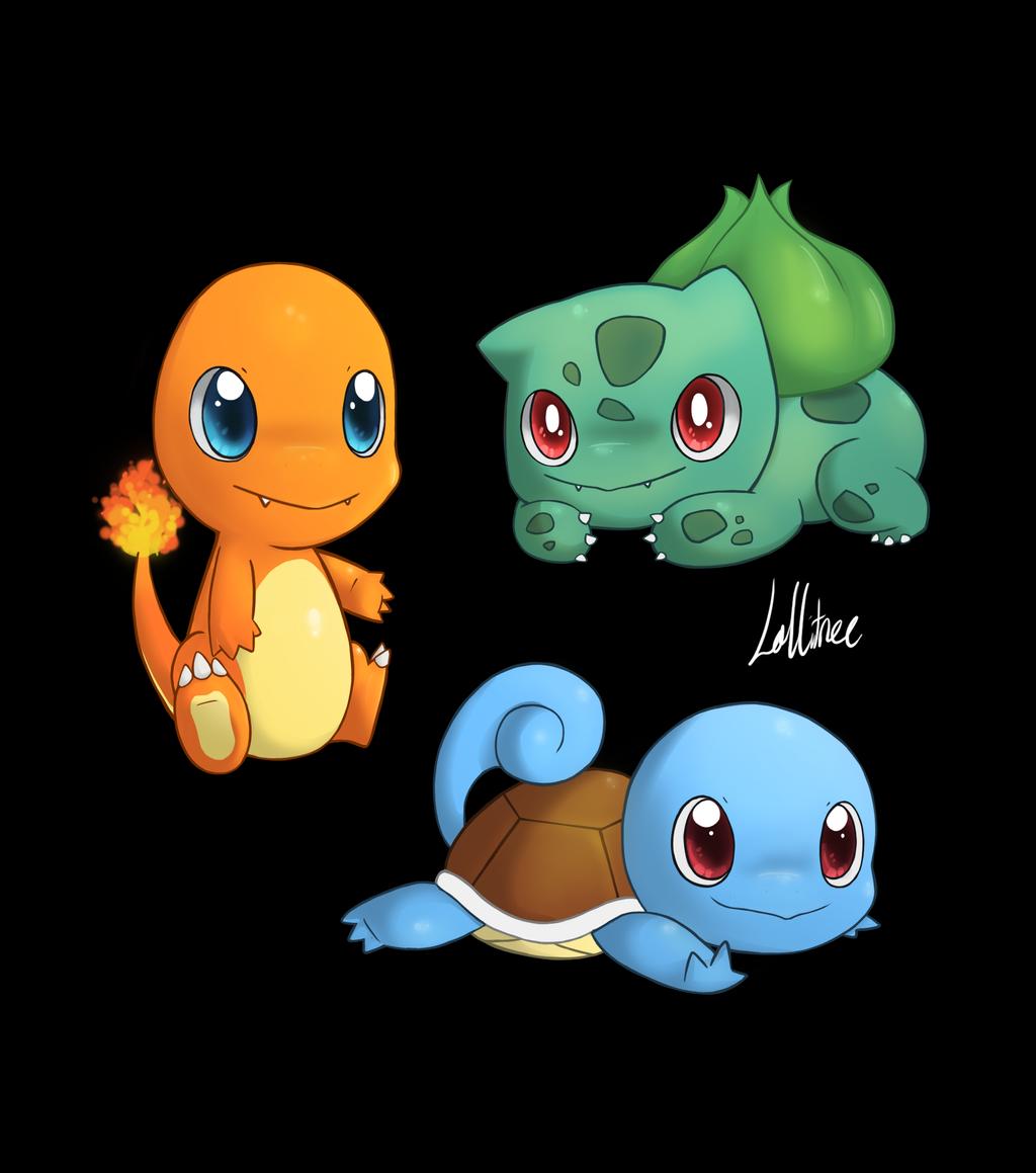 Pokemon - Kanto Starters by CrystalBluePuppy on deviantART