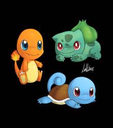 Pokemon - Kanto Starters by CrystalBluePuppy