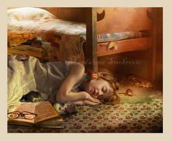 Sleepy poor schoolgirl by esstera