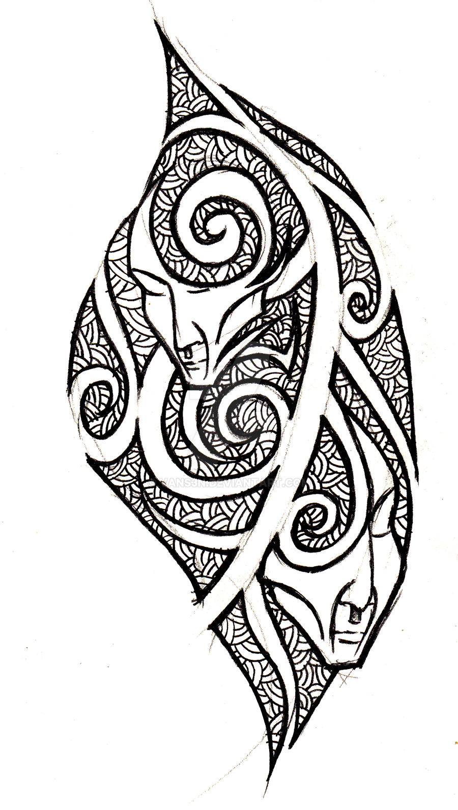 Gemini tribal tattoo concept by vans3n on deviantart for Gemini tribal tattoo
