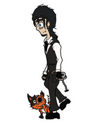 Blake Wycliffe and Jasper the zombie cat by AkouryoX