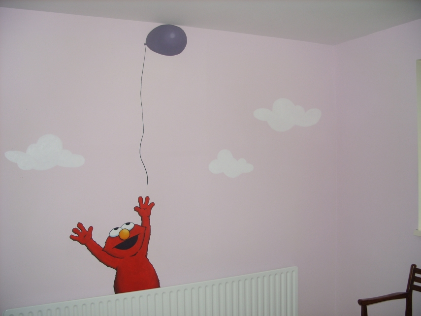 elmo wall mural by cheal on deviantart