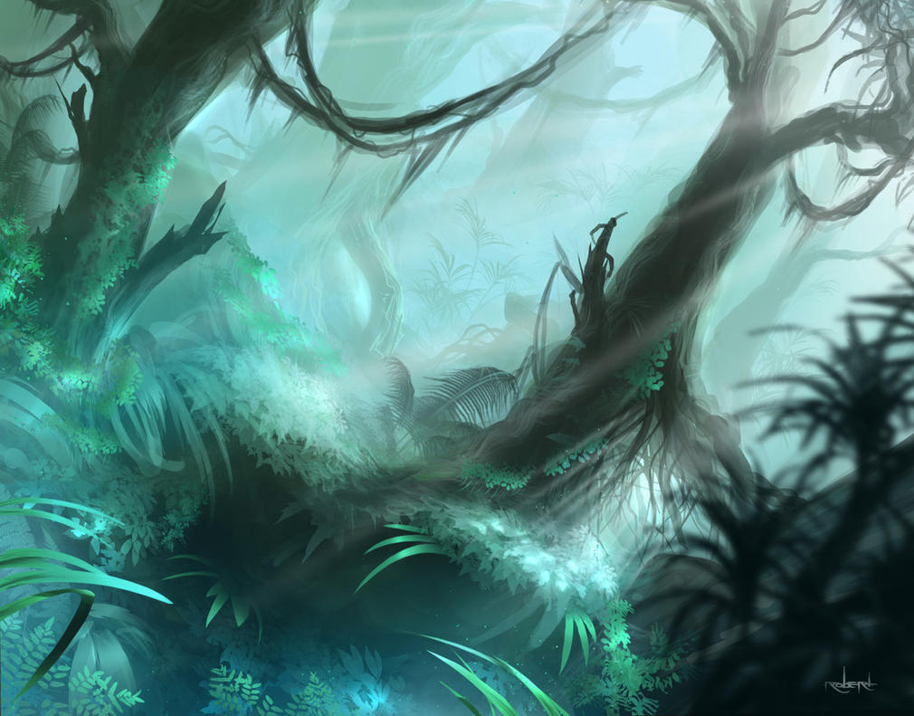 Misty Rainforest (MTG fan art) by d1eSELxxxx