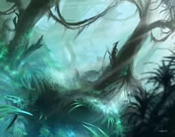 Misty Rainforest (MTG fan art) by d1eselx