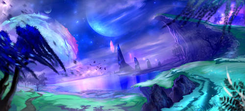 Shadowmoon Valley (WoW WoD Fan art) by d1eselx