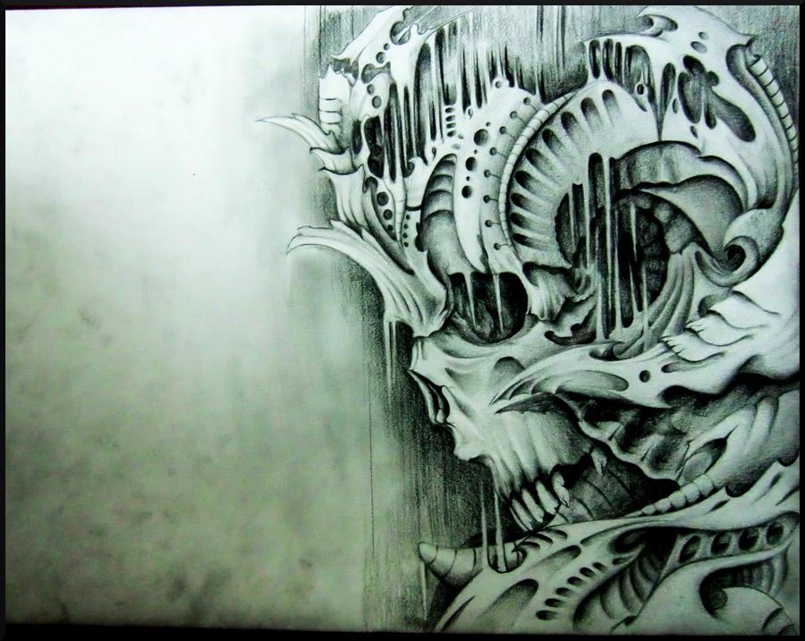 biomechanical skull inspired by victor P. by ShamelessArt