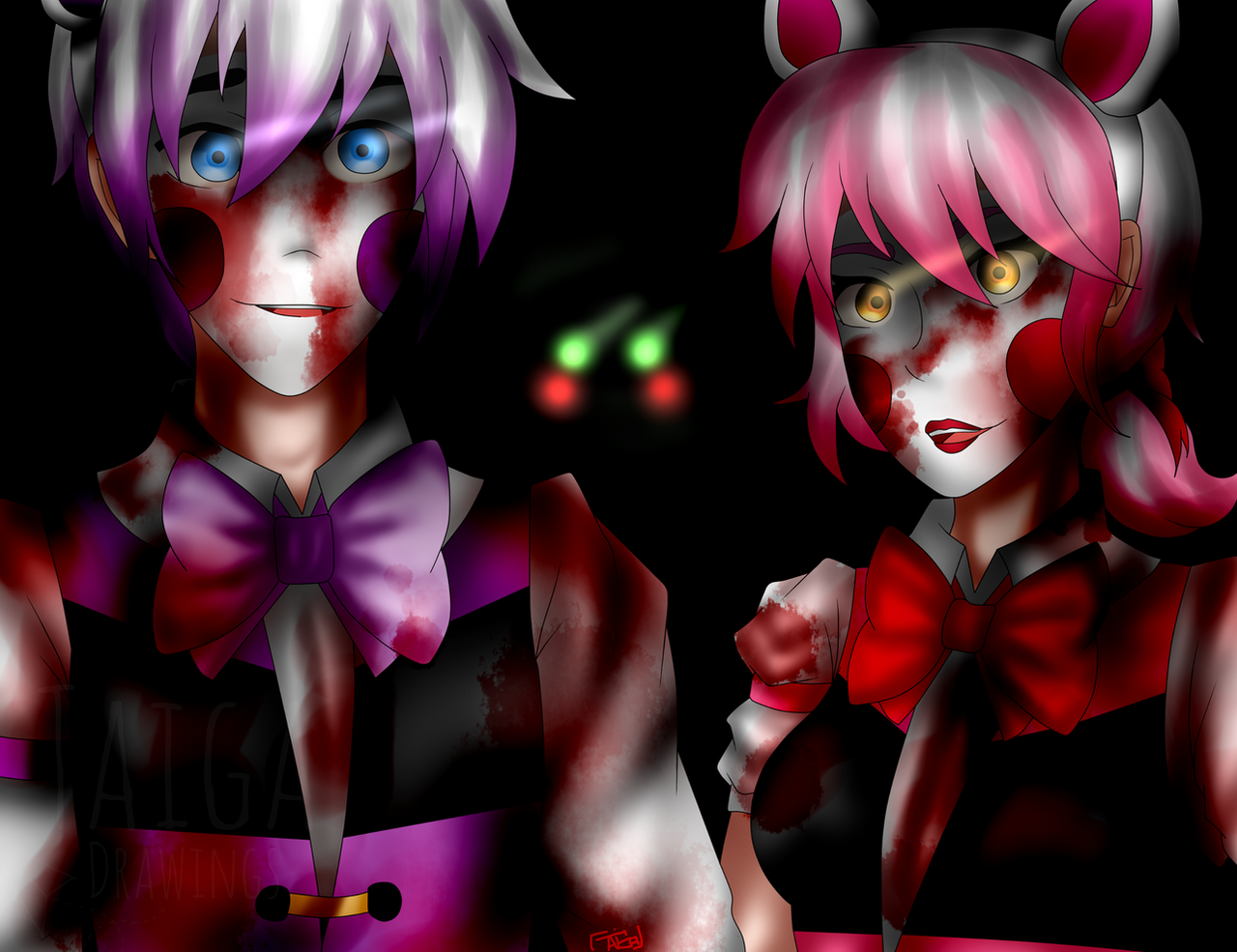 Funtime Freddy And Foxy Humans FNaF SL By Taiga Kira