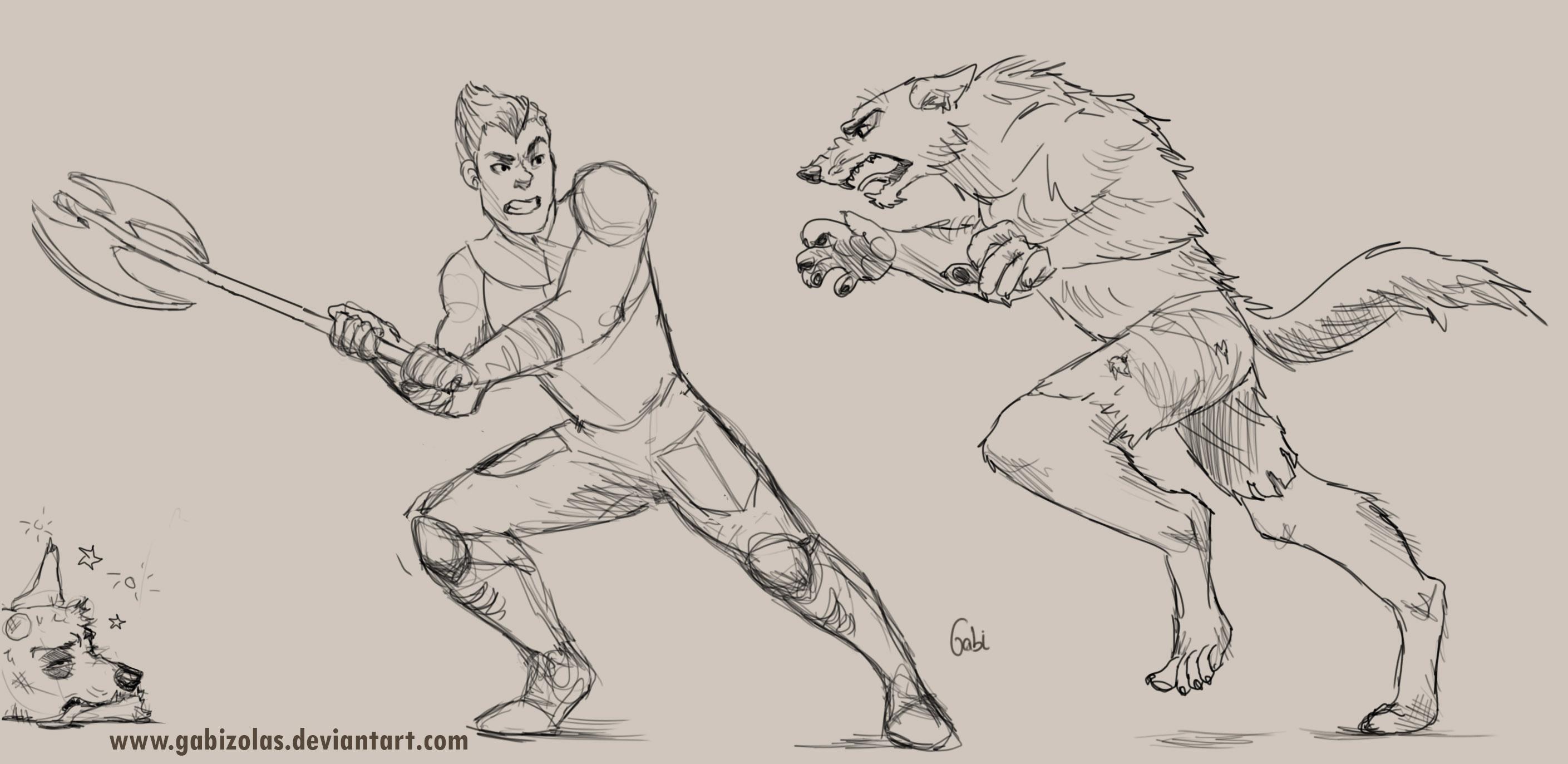 Request: Axel fighting Werewolves by Gabizolas