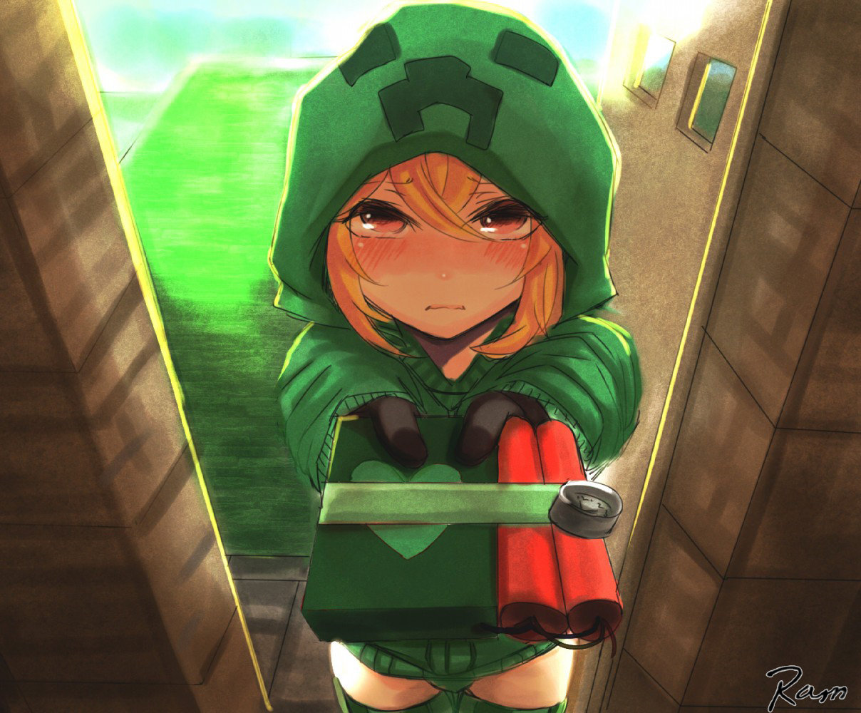 Minecraft creeper with a present d by rammkiler on deviantart - Creeper anime girl ...