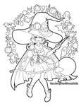 [F2U] Candy Witch Line Art Printable