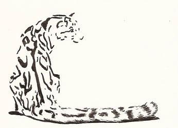 Clouded leopard bw