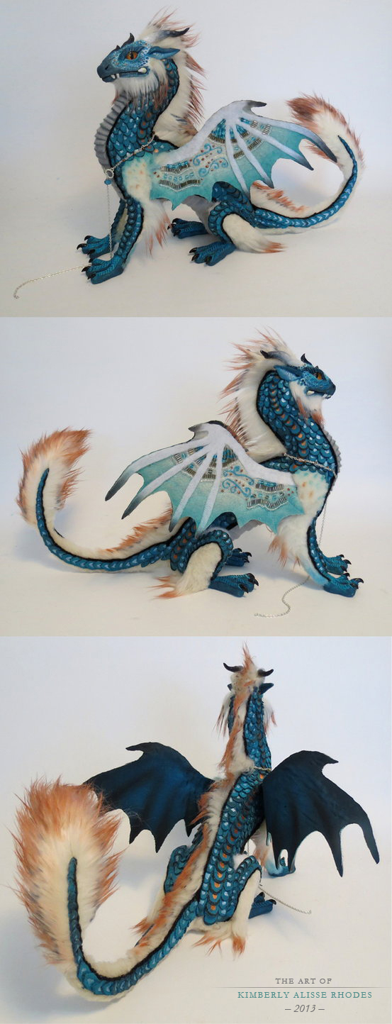 Teal and copper dragon by kimrhodes