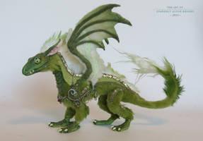 Green/Gold mini Dragon by kimrhodes