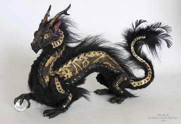 Black and Gold Orb Dragon by kimrhodes