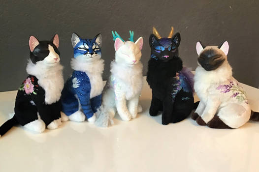 embroidered cats and dragon-cats