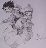 Goku and Chibi Gohan by saiyan-chan