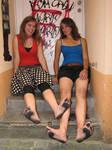 Two barefoot girls